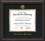 Image of East Carolina University Diploma Frame - Mahogany Braid - w/Embossed ECU Seal & Name - Black on Gold mats