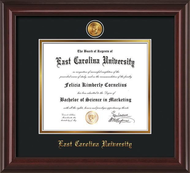 Image of East Carolina University Diploma Frame - Mahogany Lacquer - w/24k Gold-Plated Medallion ECU Name Embossing - Black on Gold mats