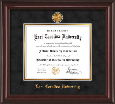 Image of East Carolina University Diploma Frame - Mahogany Lacquer - w/24k Gold-Plated Medallion ECU Name Embossing - Black Suede on Gold mats