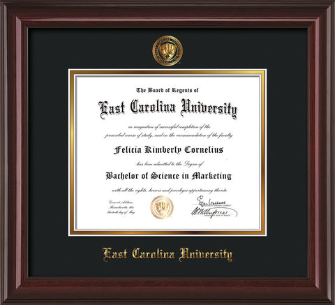 Image of East Carolina University Diploma Frame - Mahogany Lacquer - w/Embossed ECU Seal & Name - Black on Gold mats