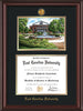 Image of East Carolina University Diploma Frame - Mahogany Lacquer - w/24k Gold-Plated Medallion ECU Name Embossing - Watercolor - Black on Gold mats