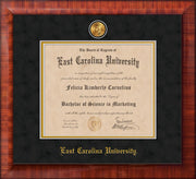 Image of East Carolina University Diploma Frame - Mezzo Gloss - w/24k Gold-Plated Medallion ECU Name Embossing - Black Suede on Gold mats