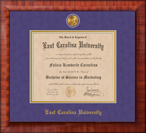 Image of East Carolina University Diploma Frame - Mezzo Gloss - w/24k Gold-Plated Medallion ECU Name Embossing - Purple Suede on Gold mats