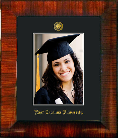 Image of East Carolina University 5 x 7 Photo Frame - Mezzo Gloss - w/Official Embossing of ECU Seal & Name - Single Black mat