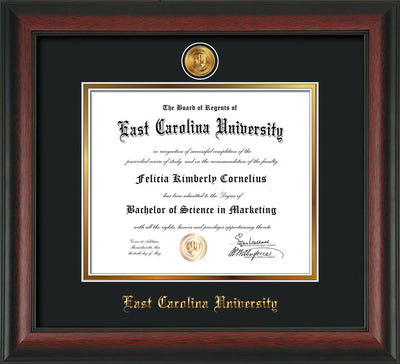 Image of East Carolina University Diploma Frame - Rosewood - w/24k Gold-Plated Medallion ECU Name Embossing - Black on Gold mats