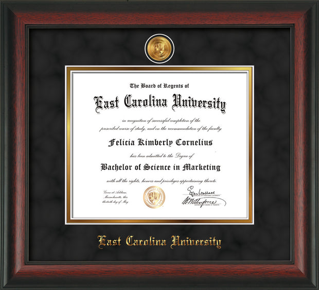 Image of East Carolina University Diploma Frame - Rosewood - w/24k Gold-Plated Medallion ECU Name Embossing - Black Suede on Gold mats