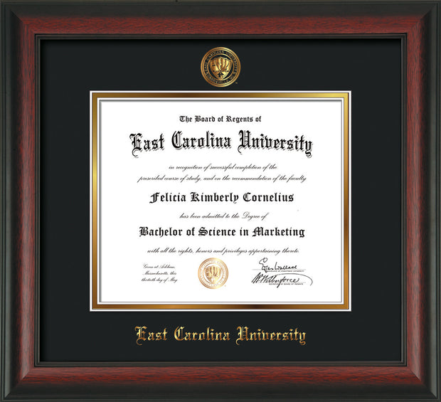 Image of East Carolina University Diploma Frame - Rosewood - w/Embossed ECU Seal & Name - Black on Gold mats