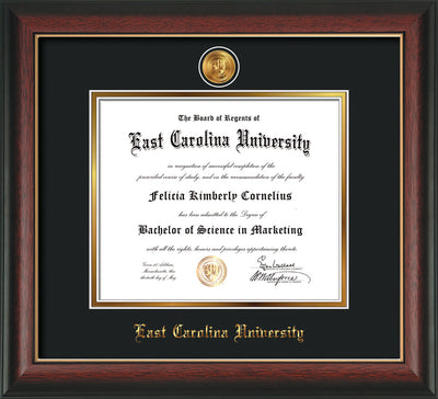 Image of East Carolina University Diploma Frame - Rosewood w/Gold Lip - w/24k Gold-Plated Medallion ECU Name Embossing - Black on Gold mats
