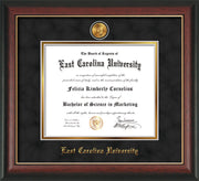 Image of East Carolina University Diploma Frame - Rosewood w/Gold Lip - w/24k Gold-Plated Medallion ECU Name Embossing - Black Suede on Gold mats