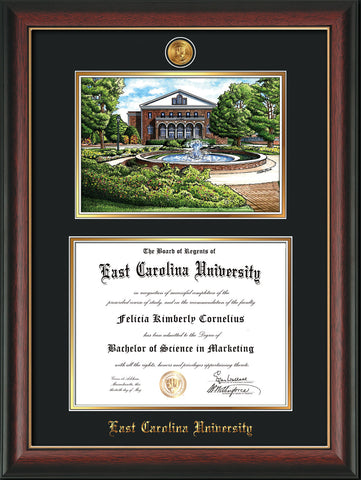 Image of East Carolina University Diploma Frame - Rosewood w/Gold Lip - w/24k Gold-Plated Medallion ECU Name Embossing - Watercolor - Black on Gold mats