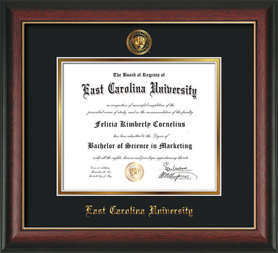 Image of East Carolina University Diploma Frame - Rosewood w/Gold Lip - w/Embossed ECU Seal & Name - Black on Gold mats