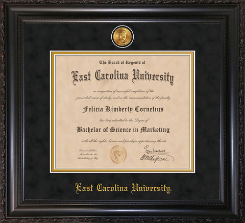 Image of East Carolina University Diploma Frame - Vintage Black Scoop - w/24k Gold-Plated Medallion ECU Name Embossing - Black Suede on Gold mats