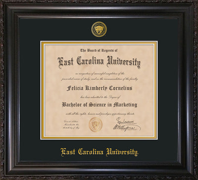 Image of East Carolina University Diploma Frame - Vintage Black Scoop - w/Embossed ECU Seal & Name - Black on Gold mats