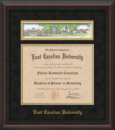Image of East Carolina University Diploma Frame - Mahogany Braid - w/Embossed School Name Only - Campus Collage - Black Suede on Gold mat