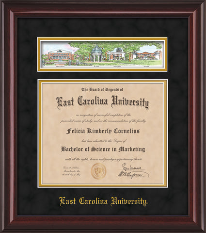 Image of East Carolina University Diploma Frame - Mahogany Lacquer - w/Embossed School Name Only - Campus Collage - Black Suede on Gold mat