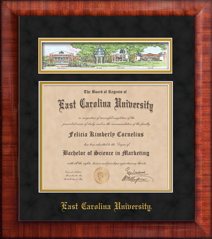 Image of East Carolina University Diploma Frame - Mezzo Gloss - w/Embossed School Name Only - Campus Collage - Black Suede on Gold mat
