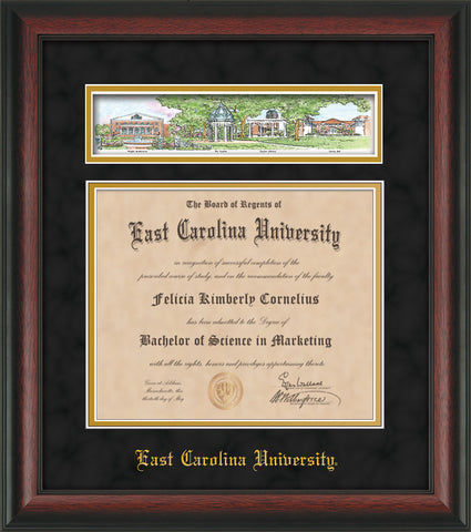 Image of East Carolina University Diploma Frame - Rosewood - w/Embossed School Name Only - Campus Collage - Black Suede on Gold mat