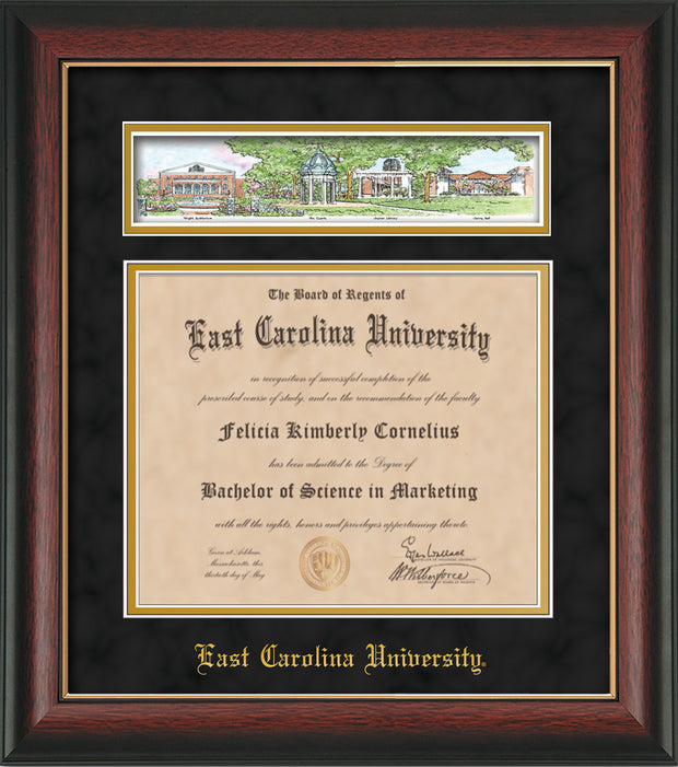 Image of East Carolina University Diploma Frame - Rosewood w/Gold Lip - w/Embossed School Name Only - Campus Collage - Black Suede on Gold mat
