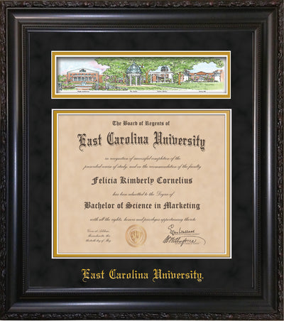 Image of East Carolina University Diploma Frame - Vintage Black Scoop - w/Embossed School Name Only - Campus Collage - Black Suede on Gold mat
