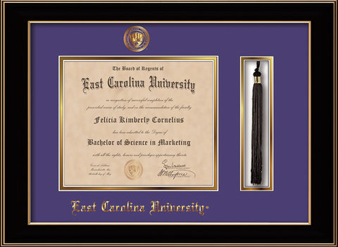 Image of East Carolina University Diploma Frame - Black Lacquer - w/Embossed ECU Seal & Name - Tassel Holder - Purple on Gold mats