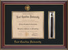 Image of East Carolina University Diploma Frame - Cherry Lacquer - w/Embossed ECU Seal & Name - Tassel Holder - Black on Gold mats