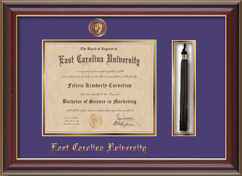 Image of East Carolina University Diploma Frame - Cherry Lacquer - w/Embossed ECU Seal & Name - Tassel Holder - Purple on Gold mats