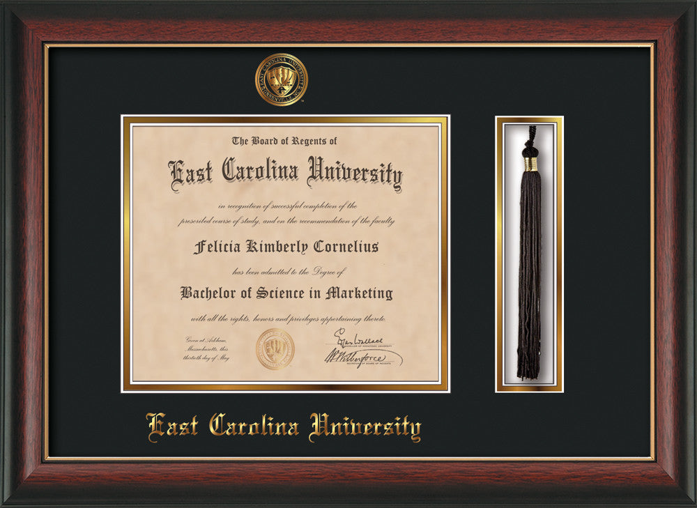 Ecu Diploma Frame Rose Gold L W Tassel Holder Black On Gold