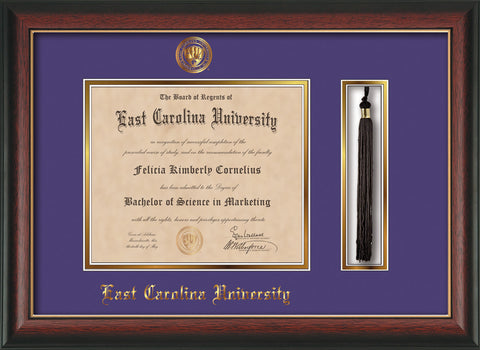 Image of East Carolina University Diploma Frame - Rosewood w/Gold Lip - w/Embossed ECU Seal & Name - Tassel Holder - Purple on Gold mats
