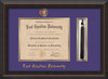 Image of East Carolina University Diploma Frame - Mahogany Braid - w/Embossed ECU Seal & Name - Tassel Holder - Purple on Gold mats