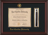 Image of East Carolina University Diploma Frame - Mahogany Lacquer - w/Embossed ECU Seal & Name - Tassel Holder - Black on Gold mats