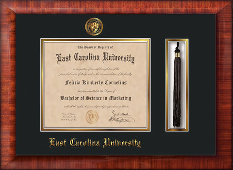 Image of East Carolina University Diploma Frame - Mezzo Gloss - w/Embossed ECU Seal & Name - Tassel Holder - Black on Gold mats