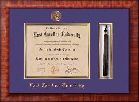 Image of East Carolina University Diploma Frame - Mezzo Gloss - w/Embossed ECU Seal & Name - Tassel Holder - Purple on Gold mats