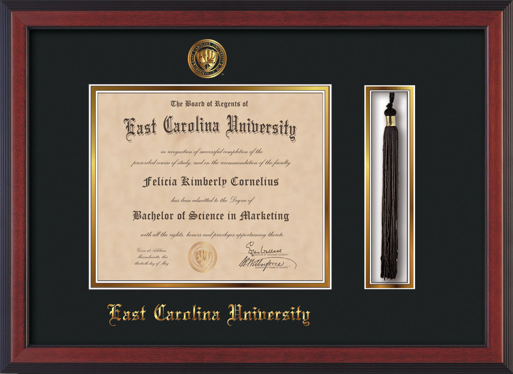 Ecu Diploma Frame Cher Reverse W Tassel Holder Black On Gold
