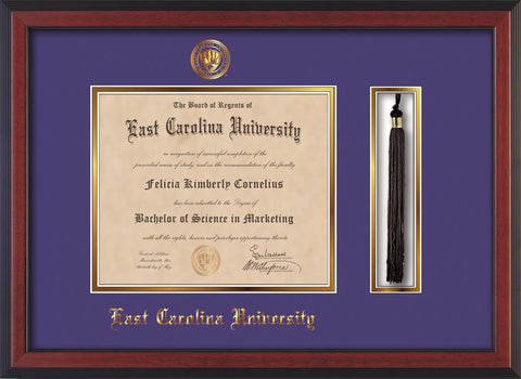 Image of East Carolina University Diploma Frame - Cherry Reverse - w/Embossed ECU Seal & Name - Tassel Holder - Purple on Gold mats