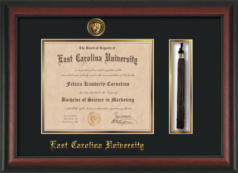 Image of East Carolina University Diploma Frame - Rosewood - w/Embossed ECU Seal & Name - Tassel Holder - Black on Gold mats