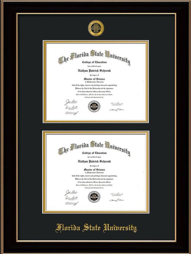 Image of Florida State University Diploma Frame - Black Lacquer - w/Embossed FSU Seal & Name - Double Diploma - Black on Gold mats