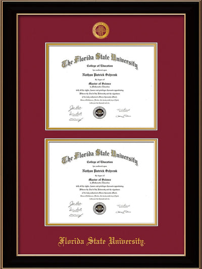 Image of Florida State University Diploma Frame - Black Lacquer - w/Embossed FSU Seal & Name - Double Diploma - Garnet on Gold mats
