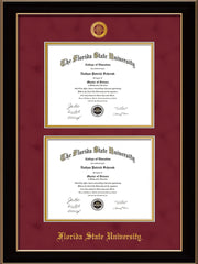 Image of Florida State University Diploma Frame - Black Lacquer - w/Embossed FSU Seal & Name - Double Diploma - Garnet Suede on Gold mats