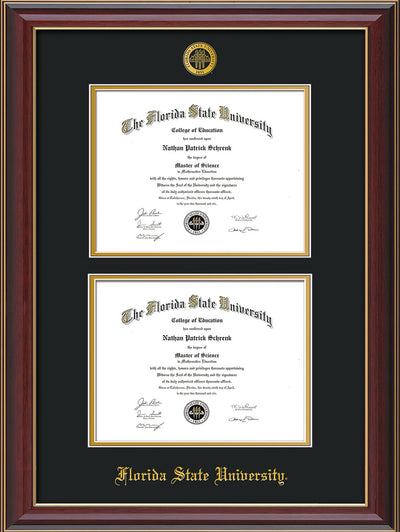 Image of Florida State University Diploma Frame - Cherry Lacquer - w/Embossed FSU Seal & Name - Double Diploma - Black on Gold mats