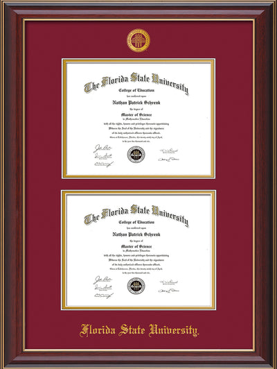 Image of Florida State University Diploma Frame - Cherry Lacquer - w/Embossed FSU Seal & Name - Double Diploma - Garnet on Gold mats