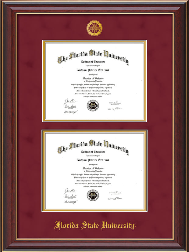 Image of Florida State University Diploma Frame - Cherry Lacquer - w/Embossed FSU Seal & Name - Double Diploma - Garnet Suede on Gold mats