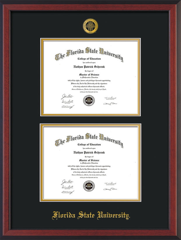 Image of Florida State University Diploma Frame - Cherry Reverse - w/Embossed FSU Seal & Name - Double Diploma - Black on Gold mats