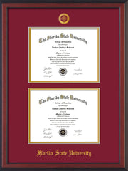 Image of Florida State University Diploma Frame - Cherry Reverse - w/Embossed FSU Seal & Name - Double Diploma - Garnet on Gold mats