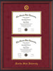 Image of Florida State University Diploma Frame - Cherry Reverse - w/Embossed FSU Seal & Name - Double Diploma - Garnet Suede on Gold mats