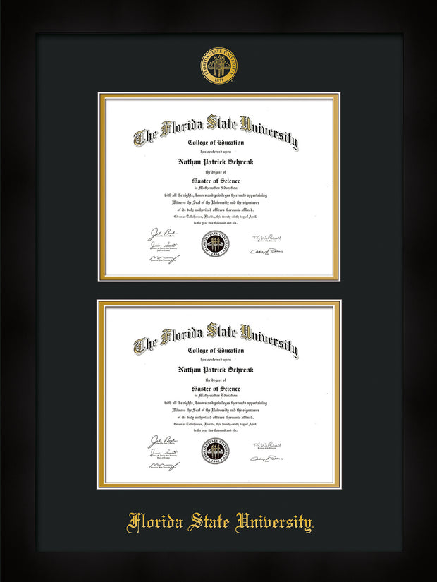 Image of Florida State University Diploma Frame - Flat Matte Black - w/Embossed FSU Seal & Name - Double Diploma - Black on Gold mats