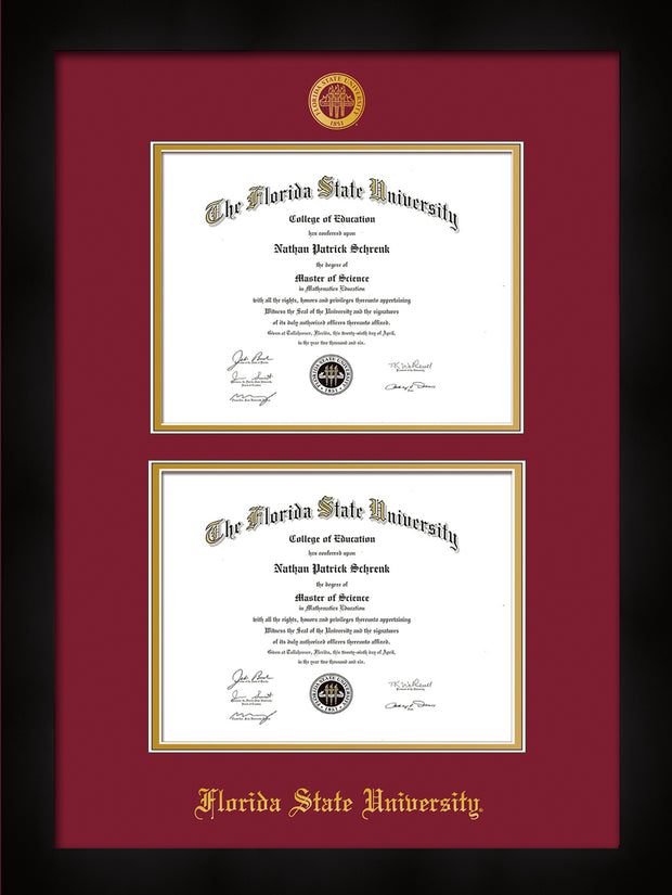 Image of Florida State University Diploma Frame - Flat Matte Black - w/Embossed FSU Seal & Name - Double Diploma - Garnet on Gold mats