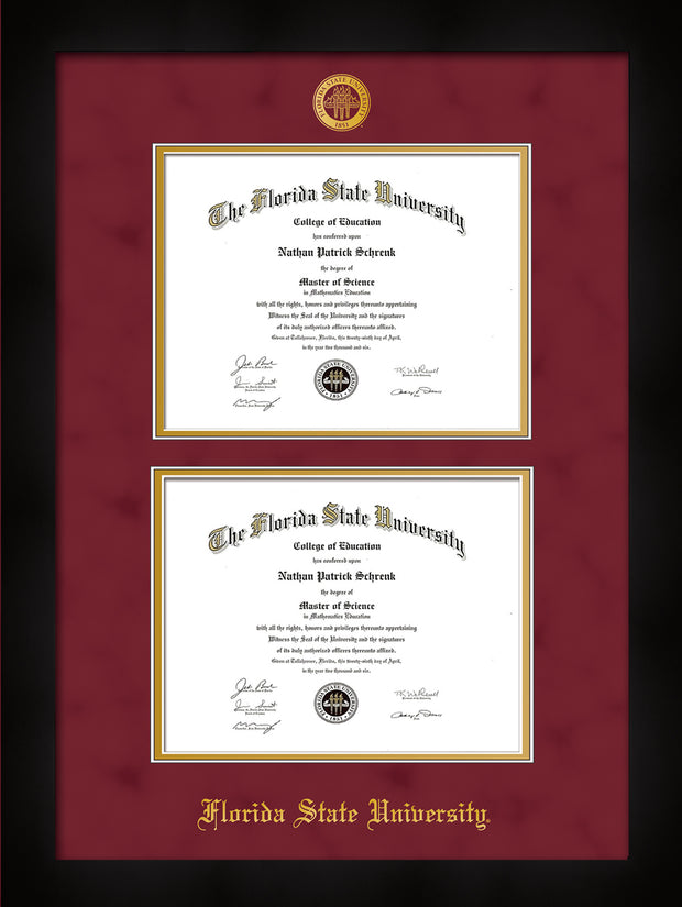 Image of Florida State University Diploma Frame - Flat Matte Black - w/Embossed FSU Seal & Name - Double Diploma - Garnet Suede on Gold mats