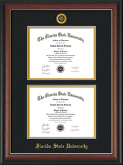 Image of Florida State University Diploma Frame - Rosewood w/Gold Lip - w/Embossed FSU Seal & Name - Double Diploma - Black on Gold mats