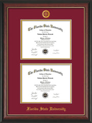 Image of Florida State University Diploma Frame - Rosewood w/Gold Lip - w/Embossed FSU Seal & Name - Double Diploma - Garnet on Gold mats