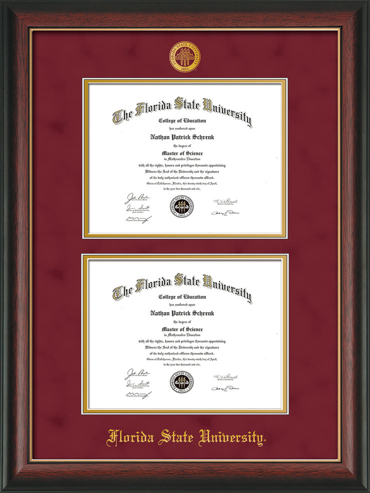 Image of Florida State University Diploma Frame - Rosewood w/Gold Lip - w/Embossed FSU Seal & Name - Double Diploma - Garnet Suede on Gold mats